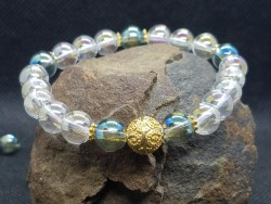 Bracelet en Aqua Aura blanche et verte